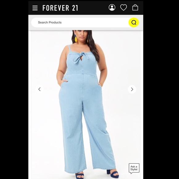 0f7548dd9 Forever 21 Pants | Plus Size Blue Denim Chambray Tie Front Jumpsuit ...